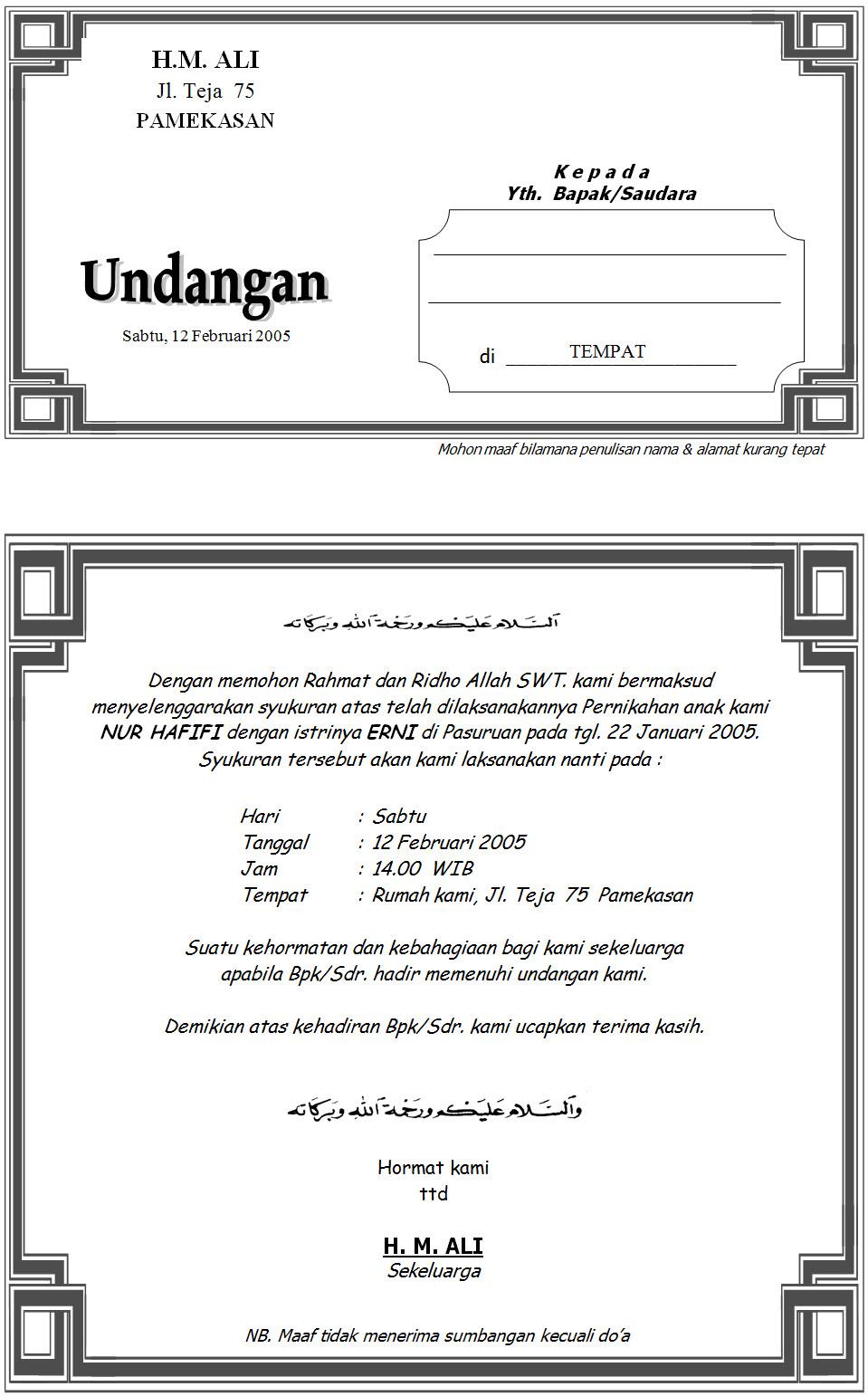 contoh tulisan undangan pernikahan