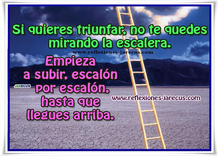 Si quieres triunfar, no te quedes mirando la escalera. Empieza a subir escalón por escalón, hasta que llegues arriba.