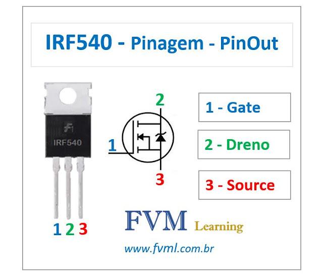 Pinagem - Pinout - Transistor Mosfet - NPN - IRF540 - Características