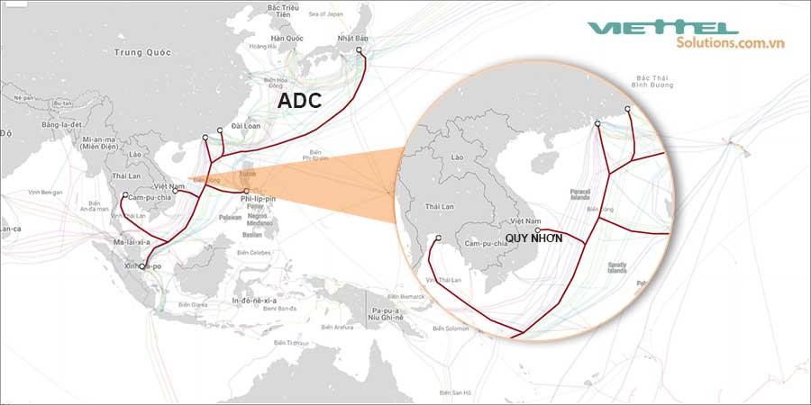 Hình 1 - Tuyến cáp quang biển ADC có băng thông lớn nhất Việt Nam
