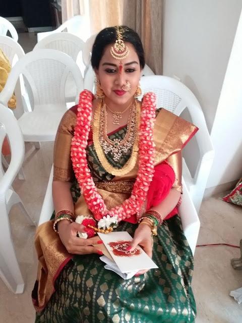 Bride in Kasu Mala with Guttapusalu Set