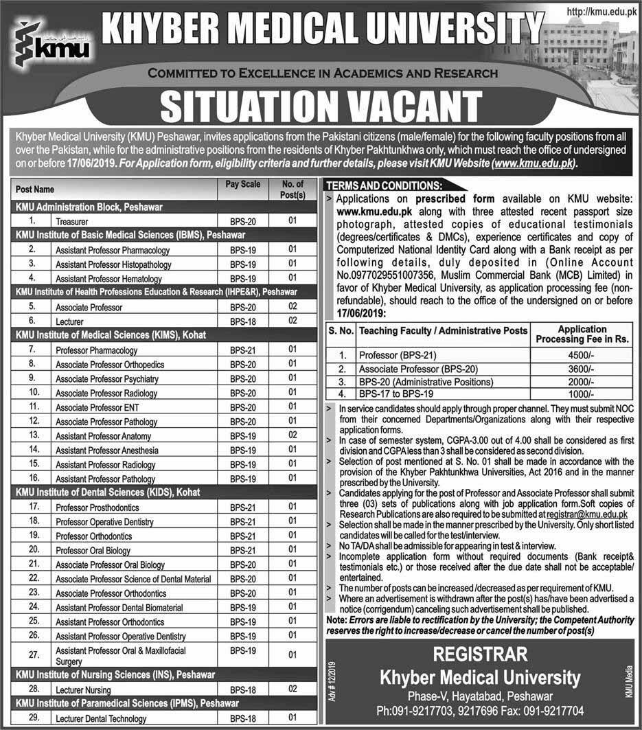Khyber Medical University Latest Jobs