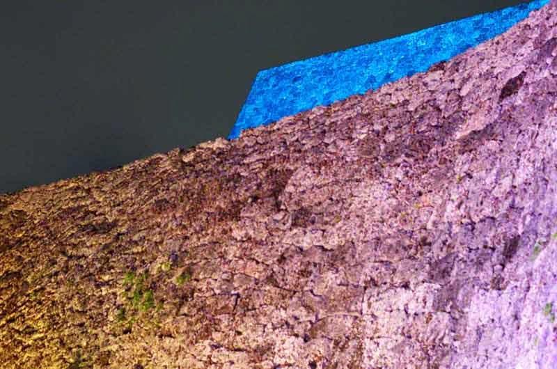 low angle, castle illumination at night