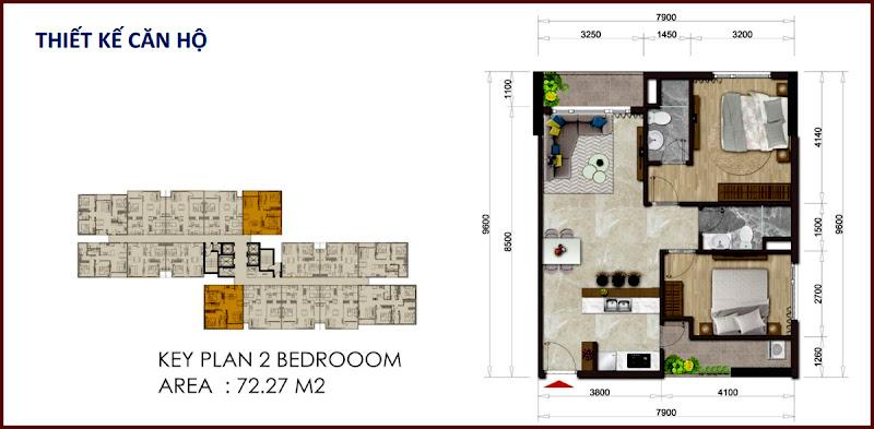Thiết kế căn hộ 72.27m2 Mizuki Park