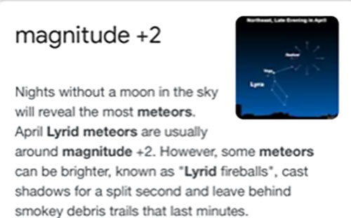 The predicted visual magnitude of the Lyrids should be eyeball visible in city lights (Source: Wikipedia)