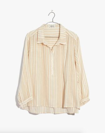 Madewell Striped Gauze Drop-Shoulder Popover Top