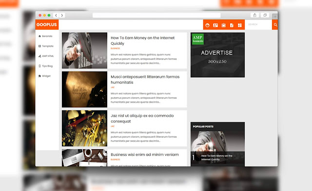 amp blogger template free
