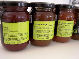 Etiquetado de las mermelada ababol con valor nutricional, lactosa y gluten
