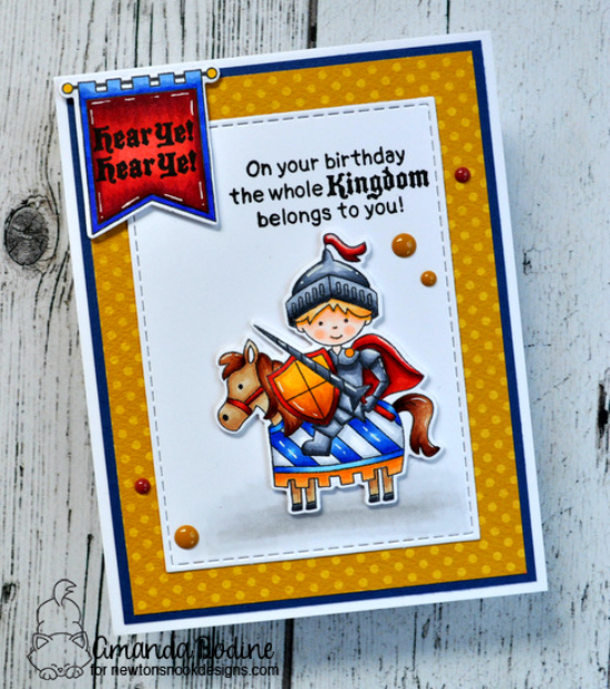 Knight jousting card by Amanda Bodine | Knight's Quest Stamp Set by Newton's Nook Designs #newtonsnook #handmade #knight