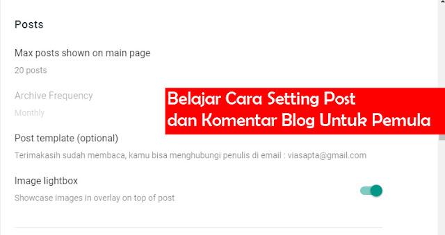 Belajar Cara Setting Post dan Komentar Blog Untuk Pemula
