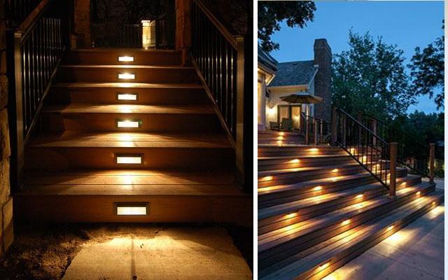 Marzua ideas para decorar escaleras con luz for Tipos de escaleras exteriores