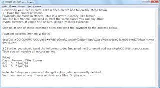 Creeper Ransomware note