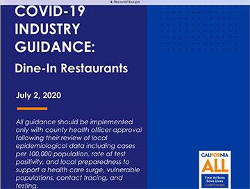 California COVID-19 Guidance for Dine-in Restaurants (www.covid19.ca.gov)