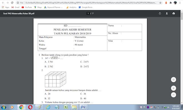 Soal ujian semester 2 matematika kelas 5 sd/mi