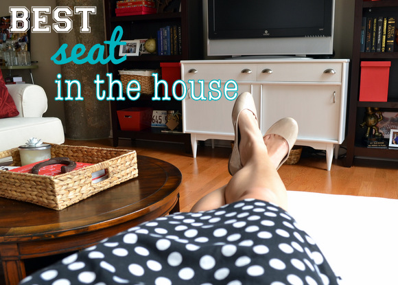 Relaxing in the best seat in the house--the perfect living room spot to watch TV.