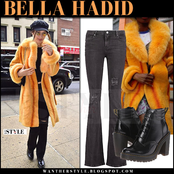 Bella Hadid in orange fur coat and flared jeans rta what she wore april 2017 streetstyle