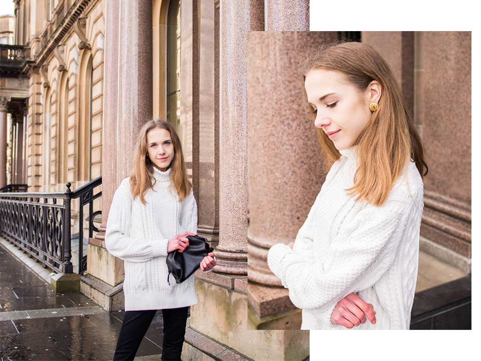 Fashion blogger winter outfit with white cable knit - Muotibloggaaja, talviasu, valkoinen palmikkoneule