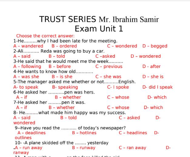 أقوى امتحان لغة انجليزية للصف الثالث الاعدادى الترم الاول المنهج الجديد 2022