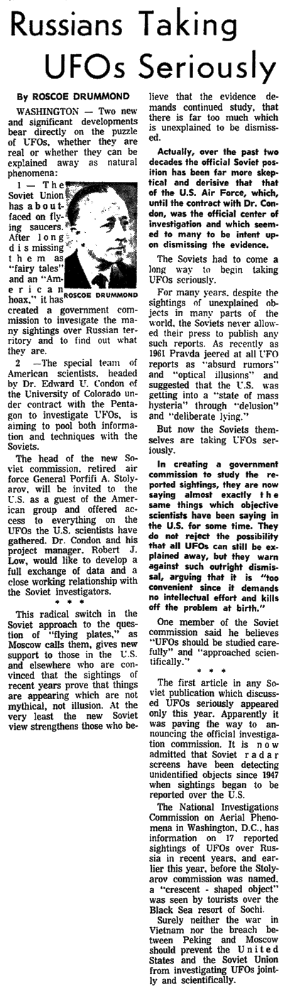 Russia Taking UFOs Seriously - Statesman Journal (Salem Oregon) 11-27-1967
