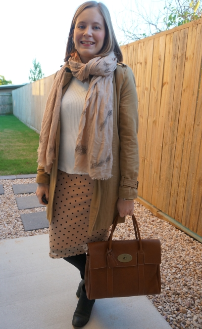 camel trench coat, feather print scarf, white jumper, blush polka dot pencil skirt, Mulberry bayswater | awayfromblue