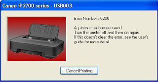 How to fix error 5200 Canon IP2770