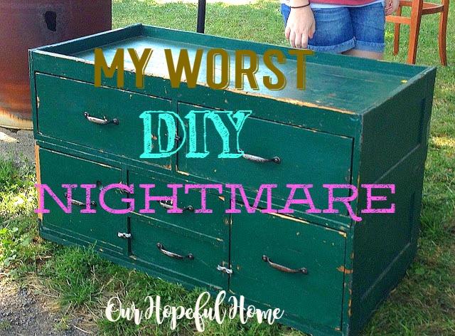 Farm sale vintage seed cabinet upcycle paint job