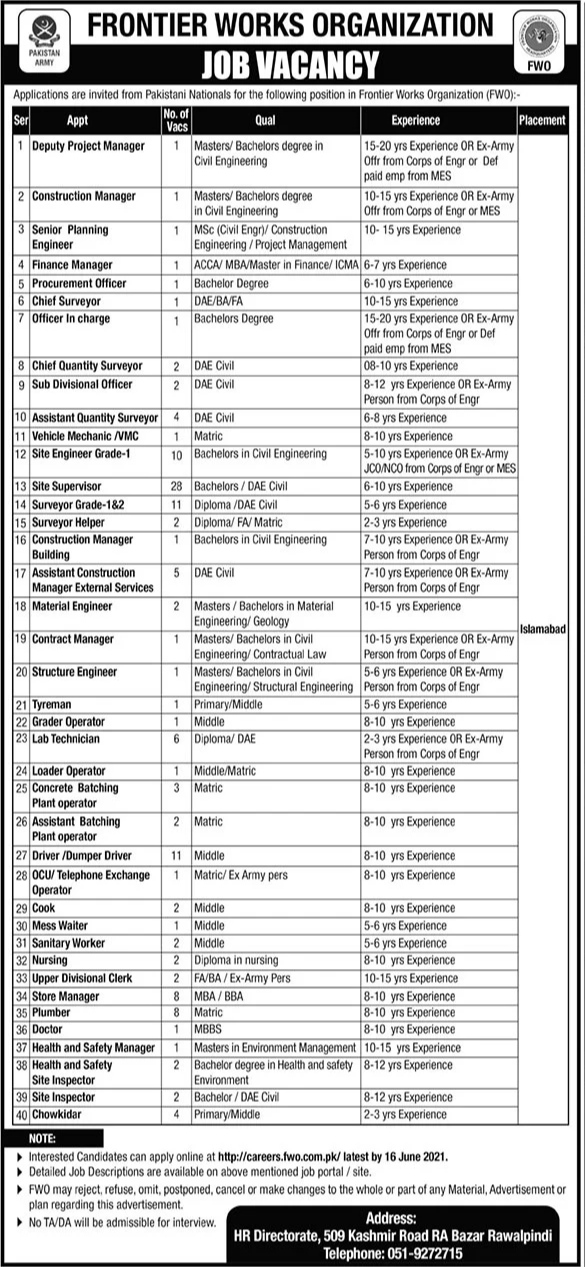 Latest Frontier Works organization FWO Jobs 2021 For Deputy Manager, Construction Manager, Planning Manager, Procurement Manager & more