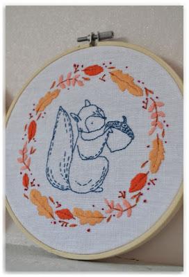 zoom broderie écureuil