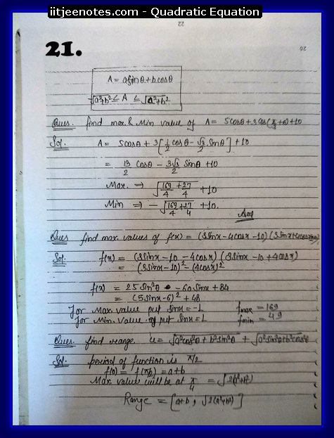 maths class 11 notes quadratic equation