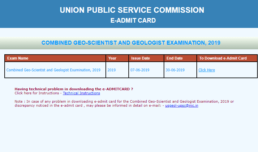 UPSC Combined Geo-Scientist and Geologist Examination