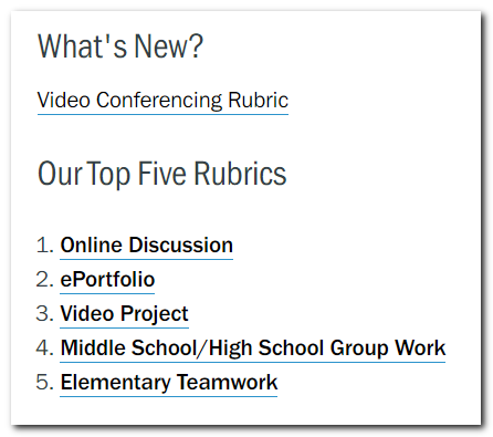 Rubrics for Video Conferencing, Online discussion, eportfolio, video projects, collaboration, teamwork