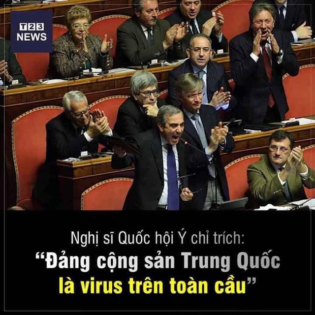 """Nghị sĩ Ý chỉ chích: """"Đảng cộng Sản Trung Quốc là virus trên toàn cầu"""""""