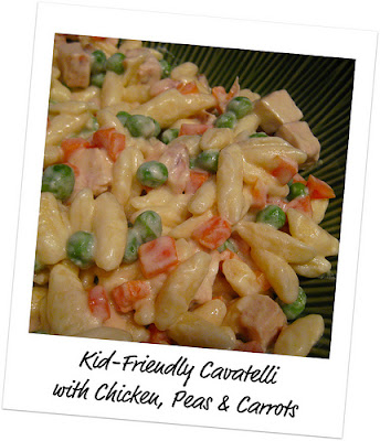 Kid-Friendly Cavatelli with Chicken, Peas & Carrots