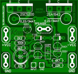 rangkaian power amplifier Micron 50 Watt