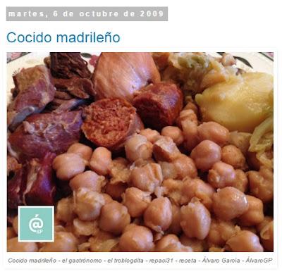 Cocido madrileño - Recetas TOP10 de El Gastrónomo en marzo 2016 - Álvaro García - ÁlvaroGP - el troblogdita