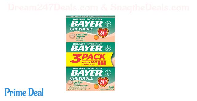Aspirin Regimen Bayer 81mg Chewable Tablets, #1 Doctor Recommended Aspirin Brand, Pain Reliever, Orange Flavor, 108 Count