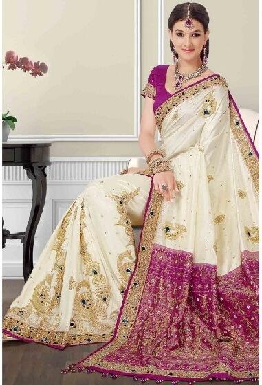 Off White And Pink Bangalore Designer Saree