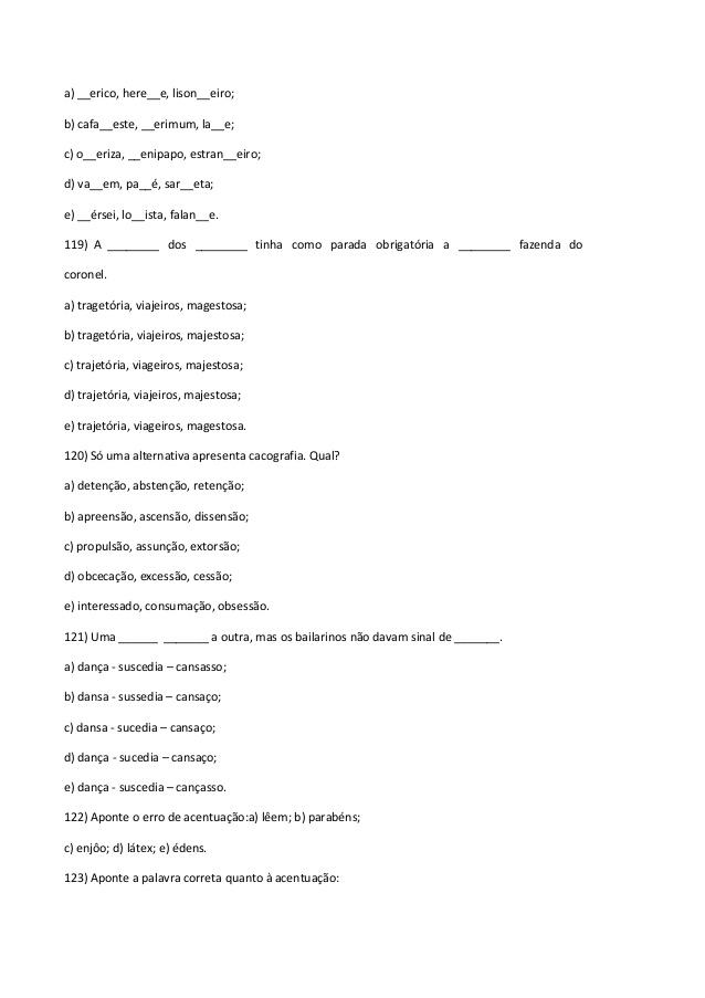 EXERCÍCIOS DE ORTOGRAFIA COM GABARITO
