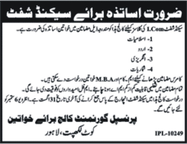 Teaching Jobs in Pakistan Government College for Women