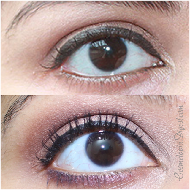 Benefit Roller Lash Mascara review, results, before and after photos of curled eyelashes.