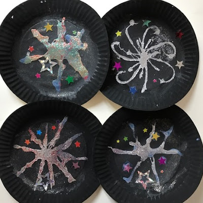 Paper plate fireworks craft