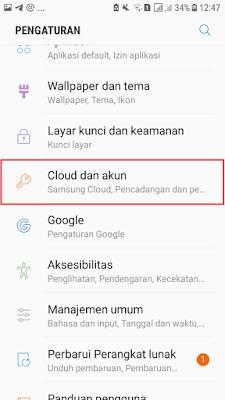 Pilih Cloud dan Akun di Menu Pengaturan