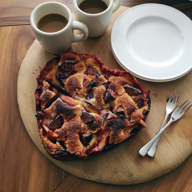 Plum, fig and almond cake recipe for using up plum glut