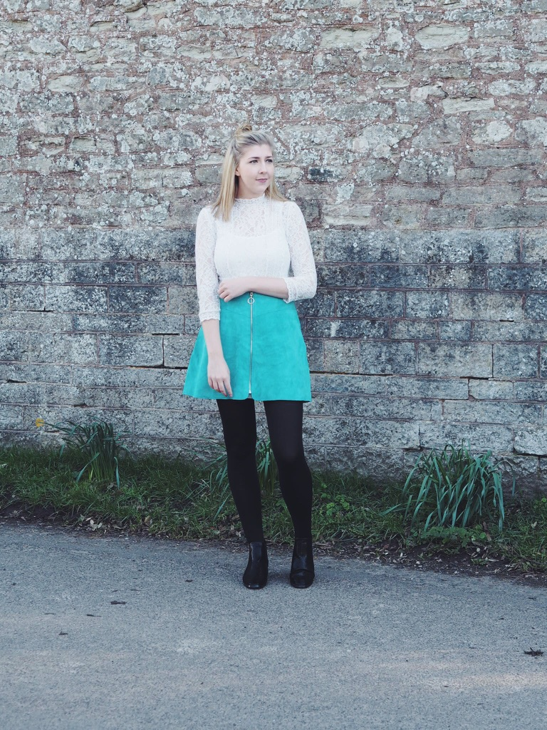 asos, primark, wiw, whatimwearing, asseenonme, lotd, lookoftheday, ootd, outfitoftheday, suedeskirt, lacedress, lacetop, fbloggers, fblogger, fashionpost, outfitpost, turquoiseskirt, lace, fashionbloggers