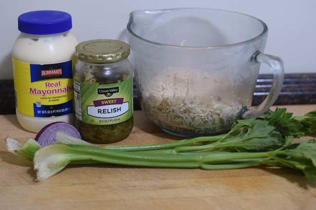 The ingredients needed to make the Classic Chicken Salad Recipe.