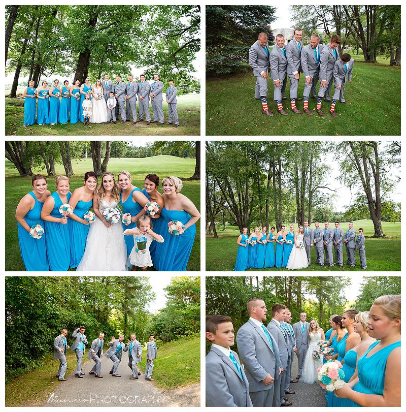 teal bridal party, blue dresses, grey suits, fun pictures, michigan wedding