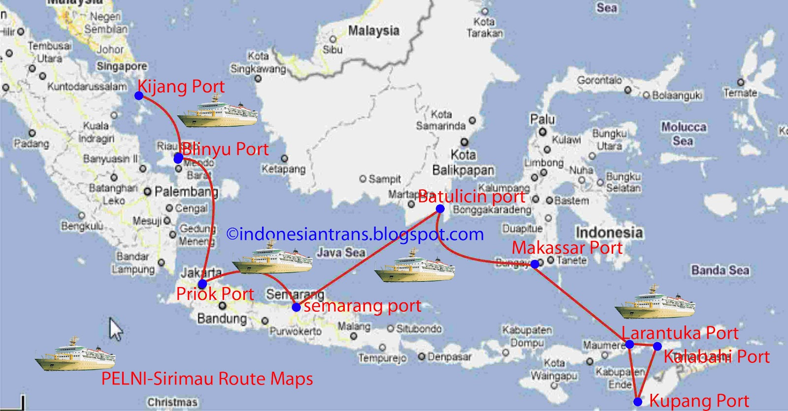 Routes Map Sirimau Ship Routes Map