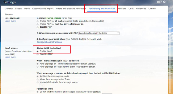 enable IMAP settings in Gmail