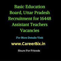 Basic Education Board, Uttar Pradesh Recruitment for 16448 Assistant Teachers Vacancies