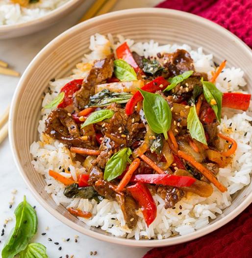 Thai Basil Beef Bowls #dinner #cooking #food #beef #healthy
